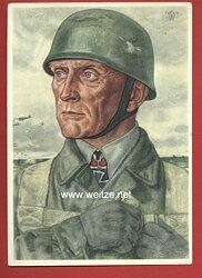 Luftwaffe - Willrich farbige Propaganda-Postkarte - Ritterkreuzträger Oberst Bruno Bräuer