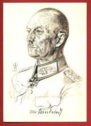 Heer - Willrich farbige Propaganda-Postkarte - Ritterkreuzträger Generaloberst Gerd v. Rundstedt