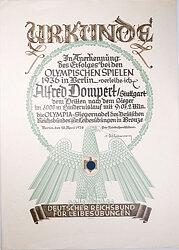 Olympiade 1936 - Olympia-Siegernadel in Bronze - Verleihungsurkunde