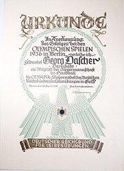 Olympiade 1936 - Olympia-Siegernadel in Gold - Verleihungsurkunde