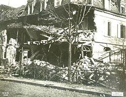 """1.Weltkrieg Pressefoto """"Durch französ. Artillerie zerstörte Häuser in Sennheim"""""""