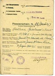 III. Reich - Der Kommissarische Präfect von Crumolo delle Abbadesse ( Italien ) - Passierschein