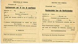 III. Reich - Provinz von Verona ( Italien ) - Passierschein fuer die Nachtstunden