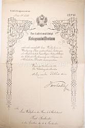 K.u.k.Kriegsministerium - Anerkennungsurkunde für einen k.k.Oberleutnant