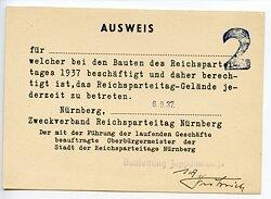 Reichsparteitag 1937 - Ausweis zum Betreten des Reichsparteitag-Geländes