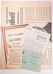 Grosses Konvolut von Dokumenten verschiedener nationalgesinnter Parteien der 20er und 30er Jahre in Hamburg