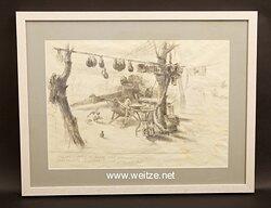 Kunst im III. Reich : Original Zeichnung von Hans Liska
