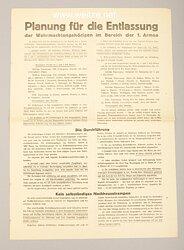 III. Reich - Aushang - Planung für die Entlassung der Wehrmachtangehörigen im Bereich der 1. Armee