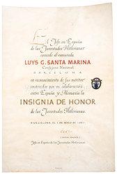 HJ Ehrenzeichen für verdiente Ausländer mit der großen Verleihungsurkunde an einen spanischen Politiker der Falange