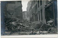 1.Weltkrieg Foto: Zerschossene Häuser in Löwen