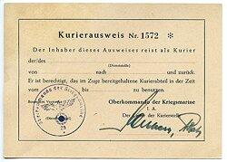 Oberkommando der Kriegsmarine - Kurierausweis