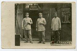 1. Weltkrieg Foto: Soldaten in der Etappe Küche für Maschinenamt