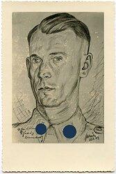 Fotografie einer Portraitzeichnung des Waffen SS Hauptsturmführers