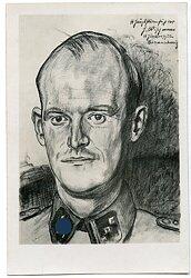 Waffen-SS Fotografie einer Portraitzeichnung eines SS-Obersturmführer der SS-Junkerschule Braunschweig