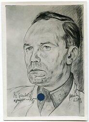 """Fotografie einer Portraitzeichnung des Waffen-SS Obersturmführer """"Sienholz"""""""