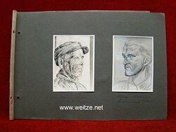 Fotografie einer Portraitzeichnung des Waffen-SS Rottenführer Maledge und eines Volksdeutschen