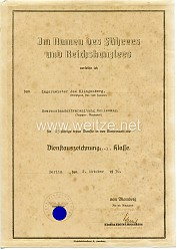 Wehrmacht - Dienstauszeichnung 4. - 1. Klasse - Verleihungsurkunde