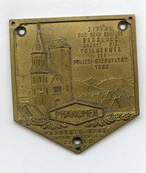 """III. Reich / Polizei Erinnerungsplakette """"Zittau und sein schönes Bergland grüsst die Teilnehmer der Polizei-Sternfahrt 1933 - Phänomen-Werke Zittau"""""""