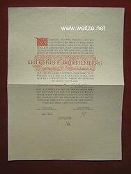 "1. Weltkrieg - Schmuckblatt - "" Kriegshilfe Württemberg """