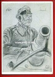 Heer - Willrich farbige Propaganda-Postkarte - Oberleutnant v.Jaworski
