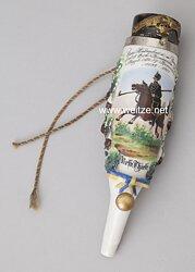 """Pfeifenkopf für die Reservistenpfeife """"Zum Andenken a.m. Dienstzeit b.d. 5. Esk. Braunschw. Hus. Regt. Nr. 17 - Braunschweig 1898 - 1901"""" für Reservist Thiele"""