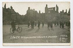 1.Weltkrieg Foto, Zerstörte Häuser am Bahnhof von Löwen