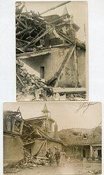 1.Weltkrieg, Besichtigung von Artillerie-Einschlägen in Wohnhäusern
