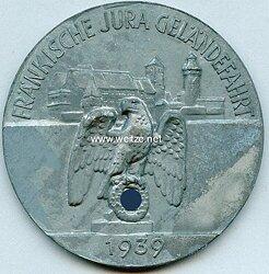 """NSKK - nichttragbare Teilnehmerplakette - """" Motorgruppe Franken - Fränkische Jura Geländefahrt 1939 """""""