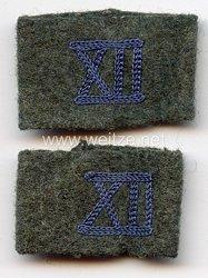 """Wehrmacht Heer Paar Schulterstücküberschübe Feldgrau Kraftfahrabteilung des Wehrkreises """"XII"""""""
