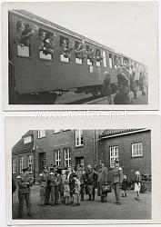 Foto, Abfahrt von Angehörigen eines Musikzuges der Wehrmacht