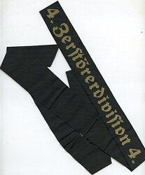 """Kriegsmarine Mützenband """"4.Zerstörerdivision 4."""""""