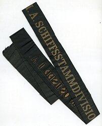 """Reichsmarine Mützenband """"1.A. Schiffsstammdivision der Ostsee 1.A."""""""
