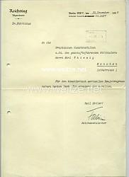 III. Reich - Reichstagsabgeordneter Dr. Hans Fabricius - Originalunterschrift auf einem Schreiben