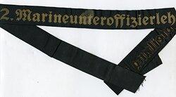 """Kriegsmarine Mützenband """"2. Marineunteroffizierlehrabteilung 2. """""""