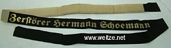 "Kriegsmarine Mützenband ""Zerstörer Hermann Schoemann"""
