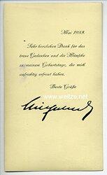 Kronprinz Wilhelm von Preussen - Faksimileunterschrift auf einer Postkarte
