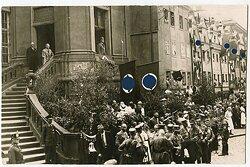 Foto, Ansprache des Bürgermeister zu Mitgliedern der NSDAP