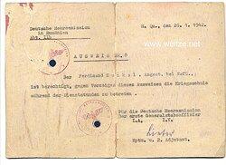 Deutsche Heeresmission in Rumänien - Ausweis