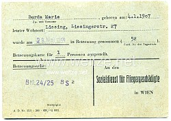 III. Reich - Sozialdienst für Fliegergeschädigte in Wien - Datenkarte