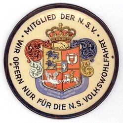 """III. Reich - NSV - Türplakette - """" Mitglied der N.S.V. - Wir opfern für die N.S. Volkswohlfahrt ( Schleswig-Holstein ) """""""