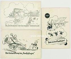 Segelfliegerei in den 30er Jahren - 3 humorvolle Postkarten