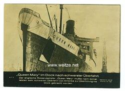 III. Reich - Pressefoto - Bildschau des Tages - Queen Mary im Dock nach schwerster Überfahrt