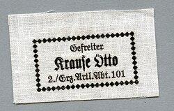 Wehrmacht Heer - gedrucktes Namensetikett für die Uniform