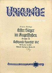 III. Reich - Lufthansa Sportgemeinschaft Berlin e.V. - Urkunde zum Lufthansa Sportfest 1942