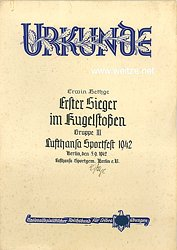 Lufthansa Sportgem. Berlin e.V.- Urkunde zum Lufthansa Sportfest 1942