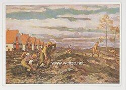"""SA - farbige Propaganda-Postkarte - """" Deutscher, erwirb das SA-Sportabzeichen - Wir helfen den Kameraden beim Siedlungsbau """""""