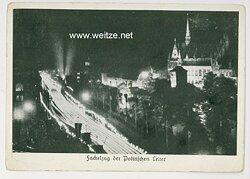 """III. Reich - Propaganda-Postkarte - """" Reichsparteitag - Fackelzug der Politischen Leiter """""""