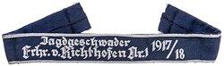 """Traditionsärmelband """"Jagdgeschwader Frhr. v. Richthofen Nr. 1 1917/18"""" für Offiziere."""