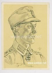 Heer - Willrich farbige Propaganda-Postkarte - Ritterkreuzträger Oberwachtmeister Johann Schmölzer