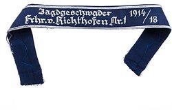 """Luftwaffe Traditionsärmelband """"Jagdgeschwader Frhr. v. Richthofen Nr. 1 1917/18"""" für Offiziere."""